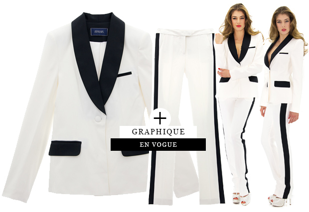 Veste smoking femme noir et blanc