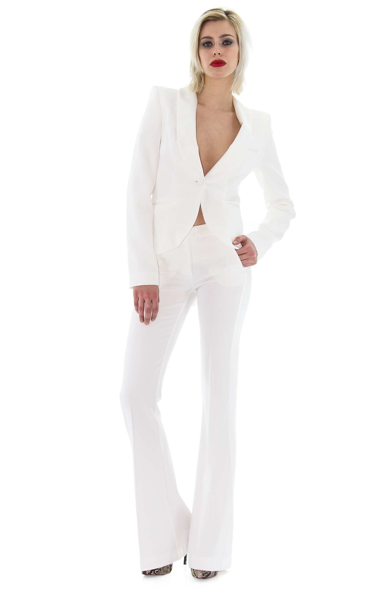 smoking pour femme pantalon blanc large stefanie renoma. Black Bedroom Furniture Sets. Home Design Ideas