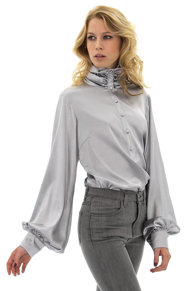 مدل بلوز آستین بلند حریر با شلوار جین و کتان