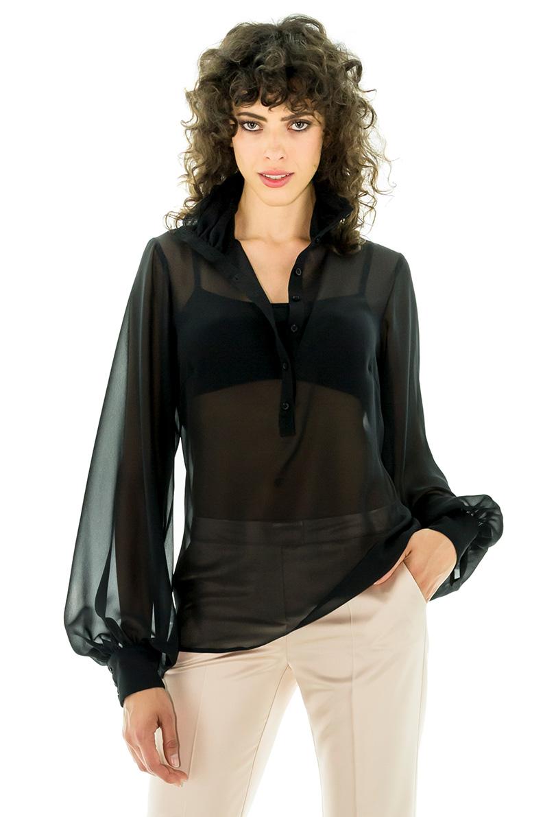 blouse en soie noire chemisier en soie chemisier du soir blouse transparente stefanie renoma. Black Bedroom Furniture Sets. Home Design Ideas