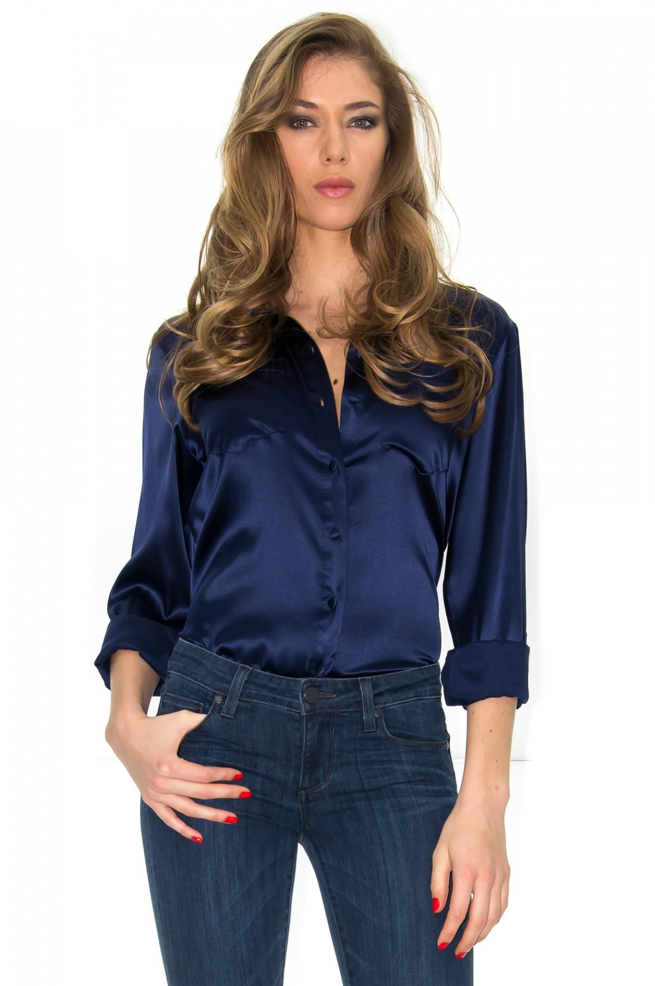 chemise loose chemise en satin chemisier soie bleu. Black Bedroom Furniture Sets. Home Design Ideas