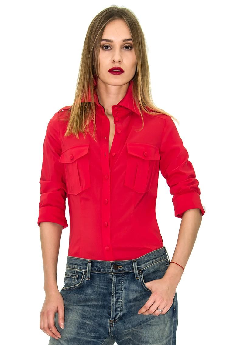 chemise femme chemise rouge chemise poche stefanie renoma. Black Bedroom Furniture Sets. Home Design Ideas