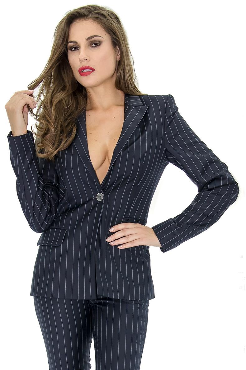 tailleur femme veste cintr e tailleur ray e stefanie renoma stefanie renoma. Black Bedroom Furniture Sets. Home Design Ideas