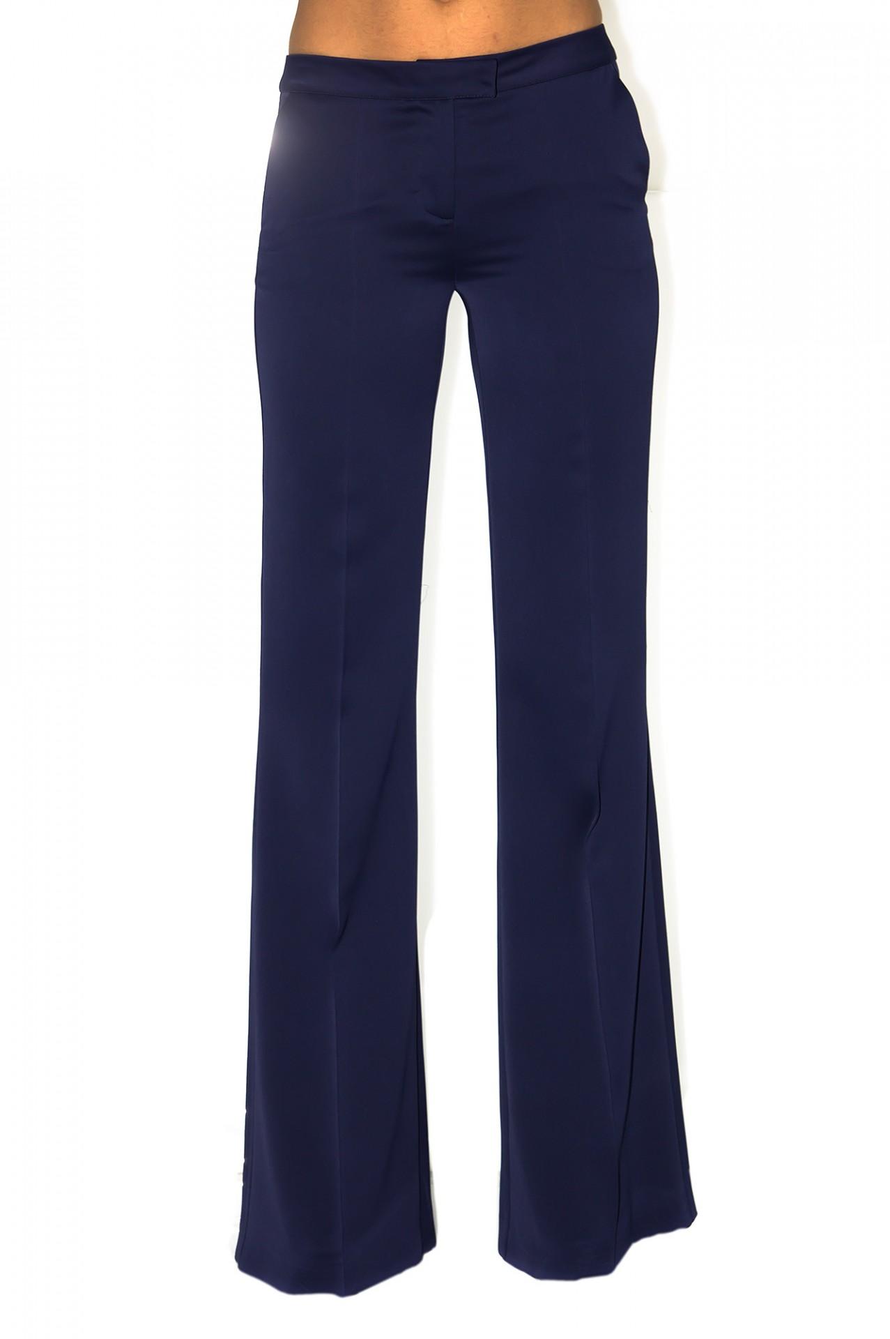 pantalon large en crepe satin bleu marine stefanie renoma. Black Bedroom Furniture Sets. Home Design Ideas