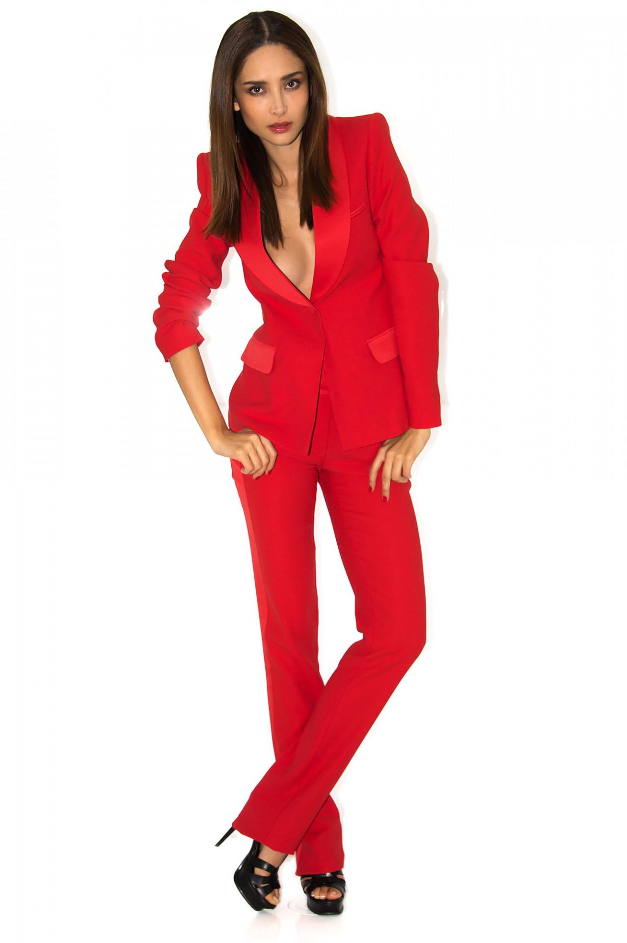 tailleur pantalon femme rouge
