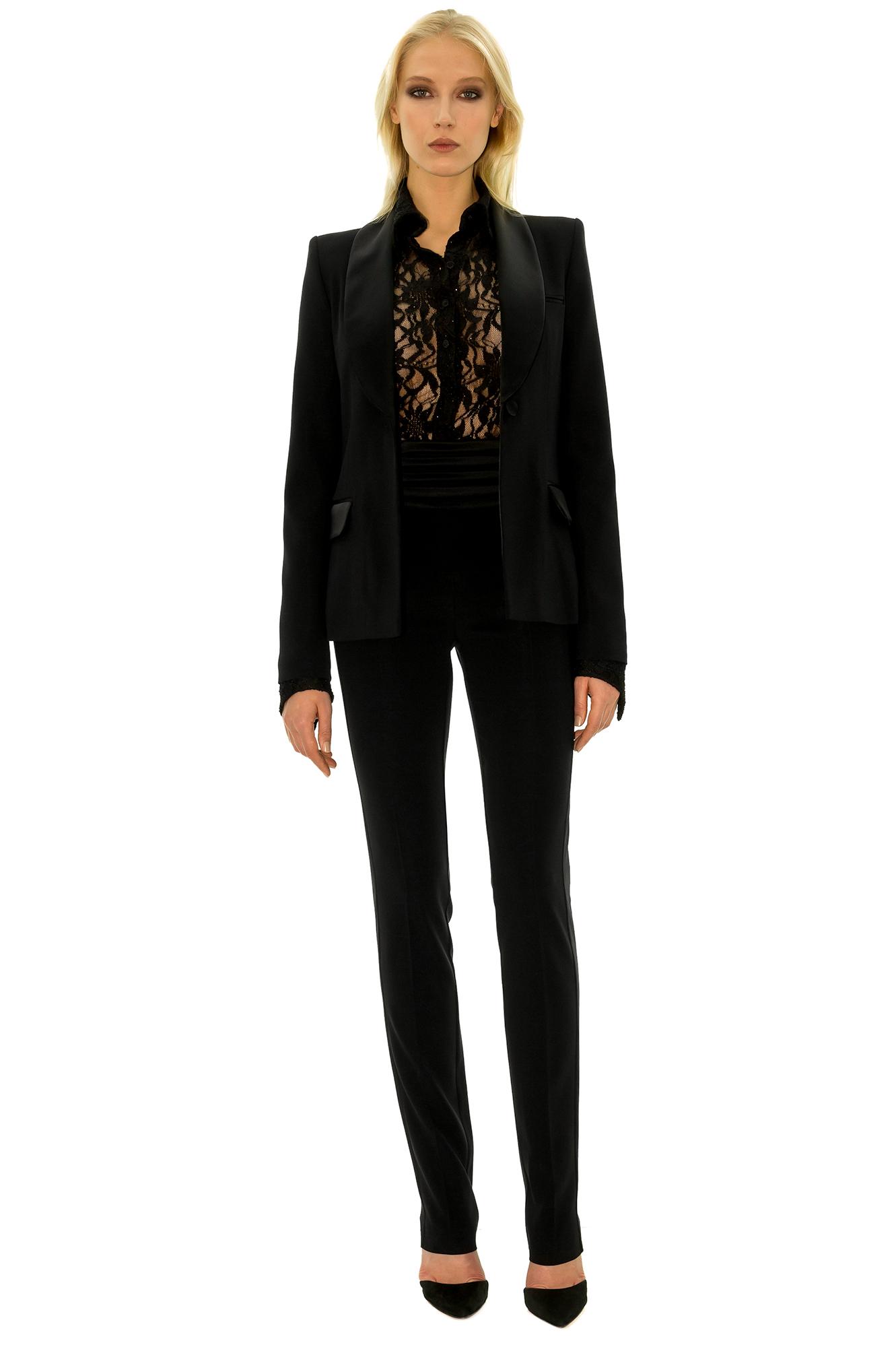 Taille Haute Femme Ceinture Noir Pantalon Smoking v71cOqcy