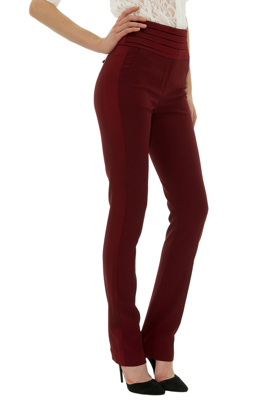 smoking femme pantalon taille haute smoking rouge tanya chubko stefanie renoma. Black Bedroom Furniture Sets. Home Design Ideas
