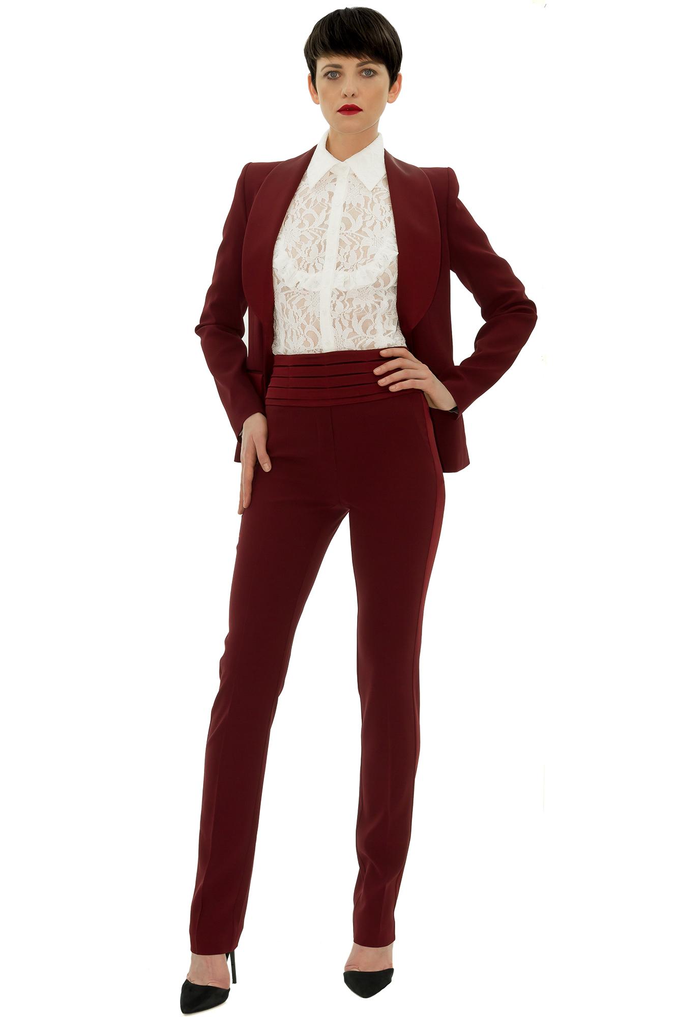 Veste costume bordeaux femme