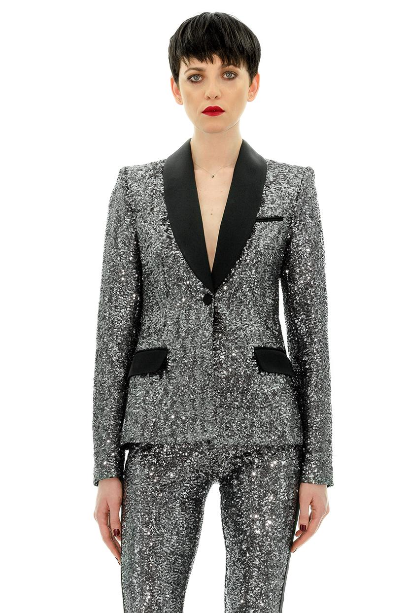 veste de smoking femme paillettes grises veste habill tanya chubko stefanie renoma. Black Bedroom Furniture Sets. Home Design Ideas
