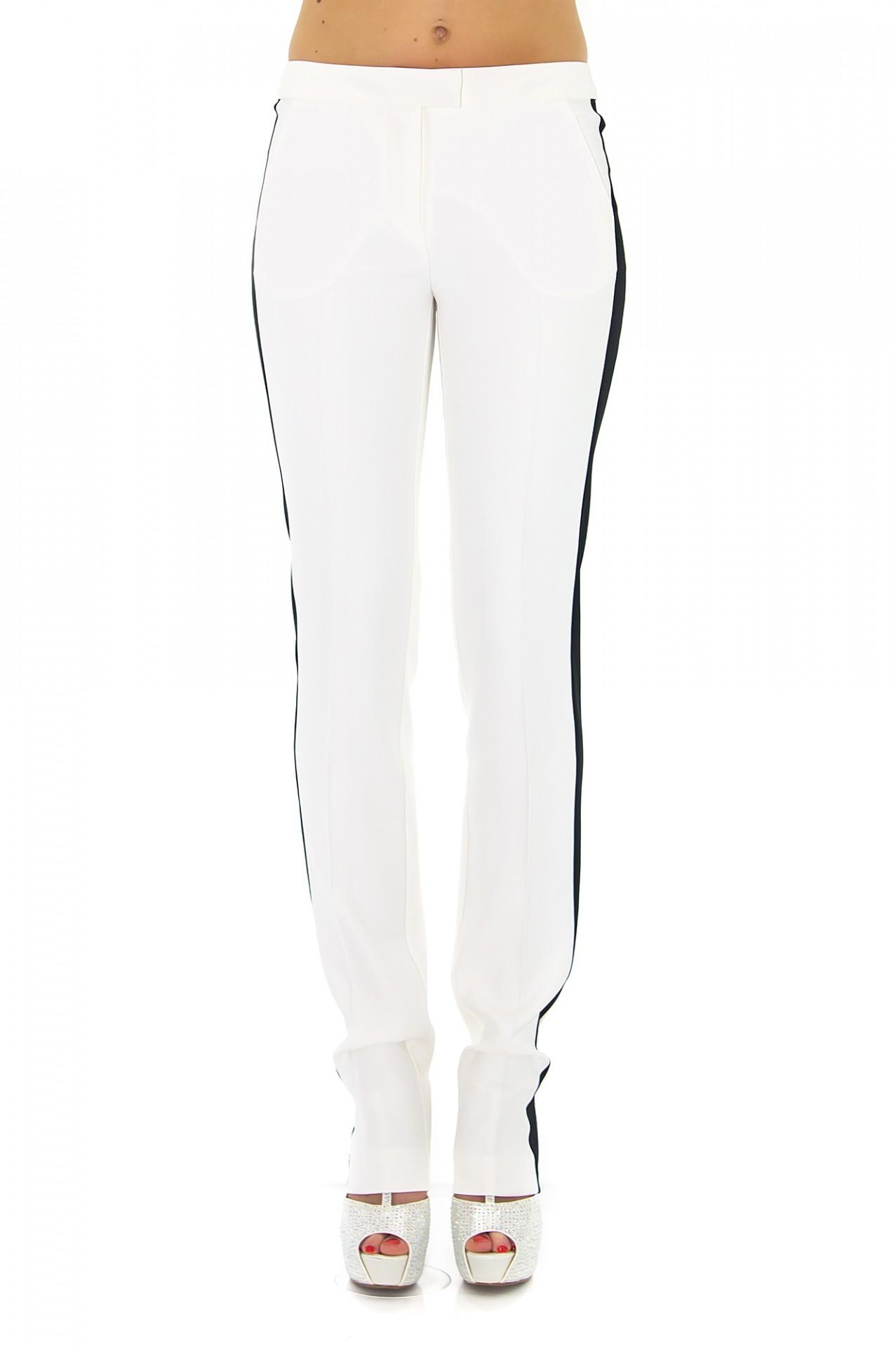 pantalon de smoking femme blanc stefanie renoma. Black Bedroom Furniture Sets. Home Design Ideas