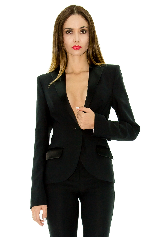 veste smoking femme veste de smoking noire col pointe stefanie renoma. Black Bedroom Furniture Sets. Home Design Ideas