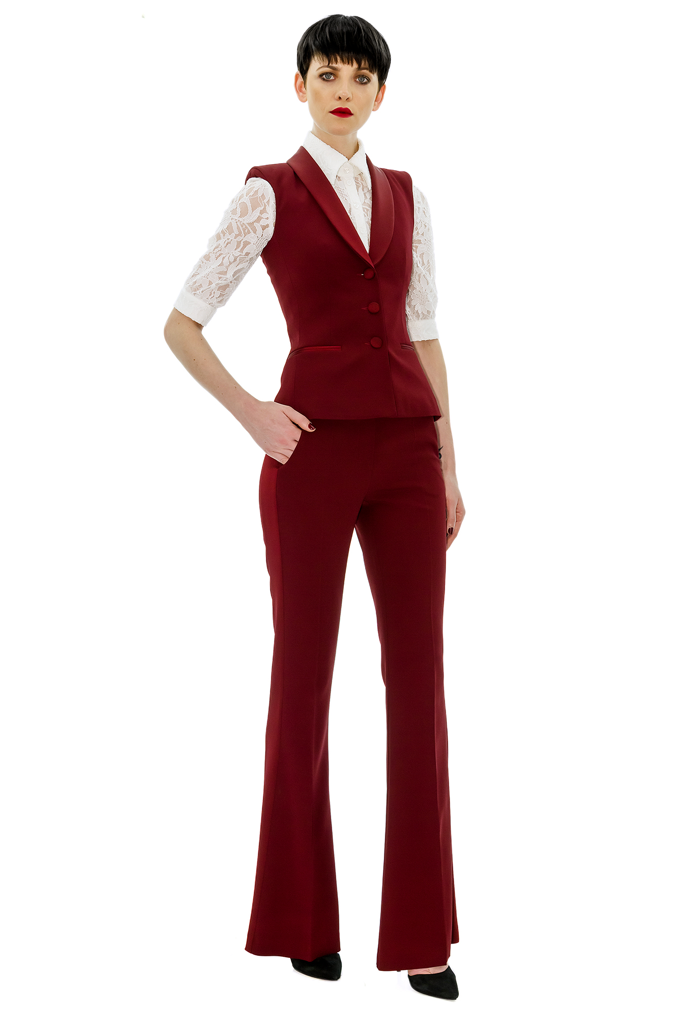 sleeveless burgundy tuxedo jacket for women stefanie renoma. Black Bedroom Furniture Sets. Home Design Ideas