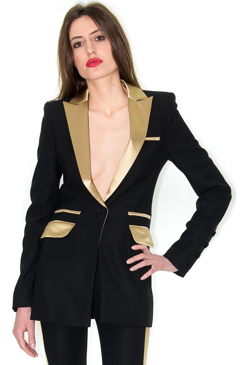veste de smoking femme veste longue noir et or stefanie renoma stefanie renoma. Black Bedroom Furniture Sets. Home Design Ideas