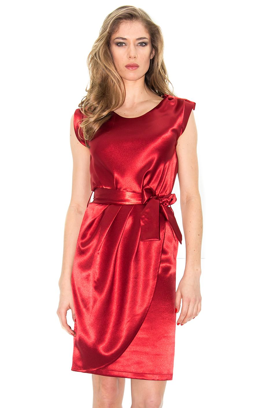 robe satin rouge